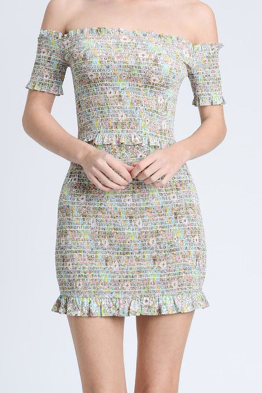 storia Colorful Smocked Skirt - Front Full Image