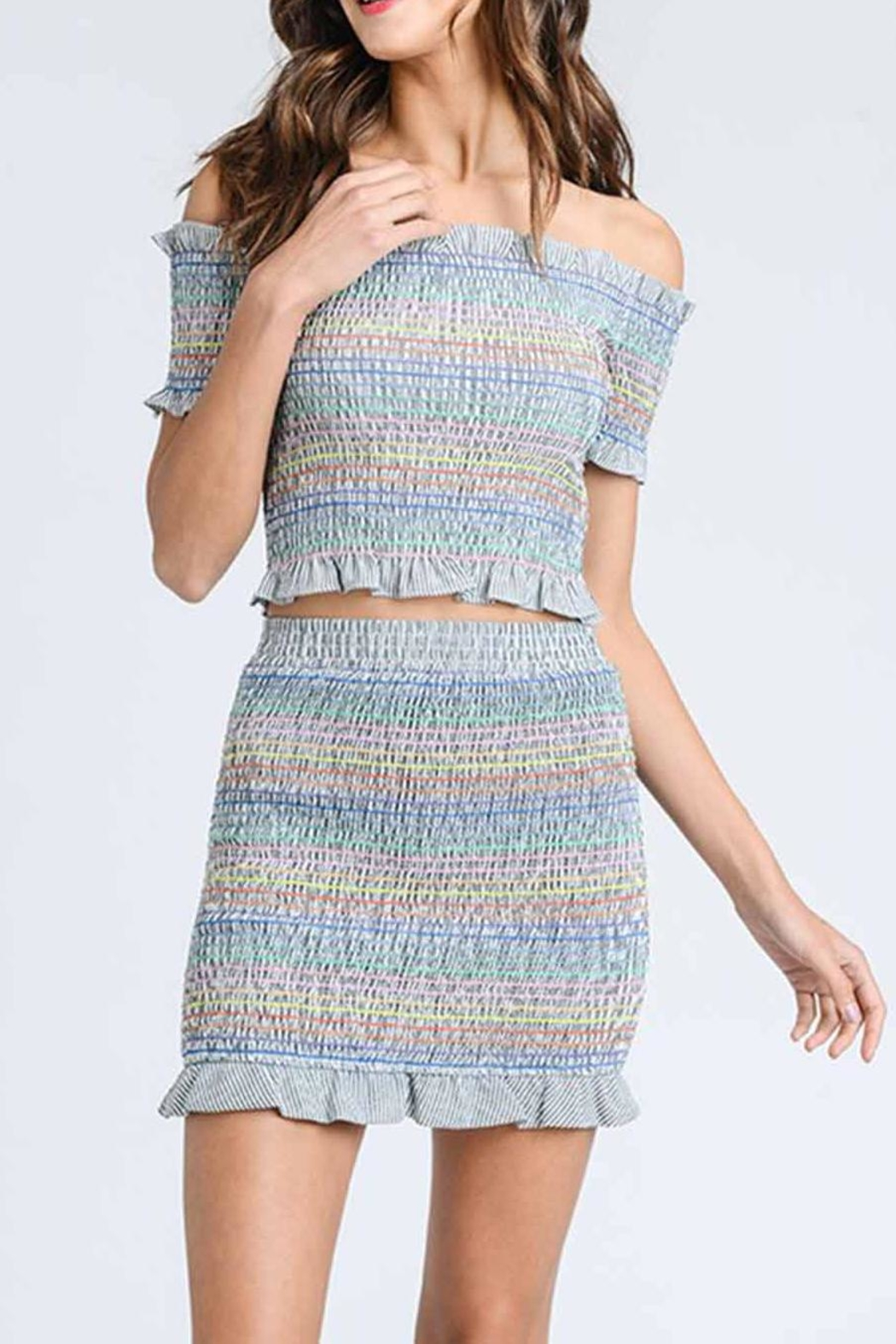 storia Colorful Smocked Top - Front Cropped Image