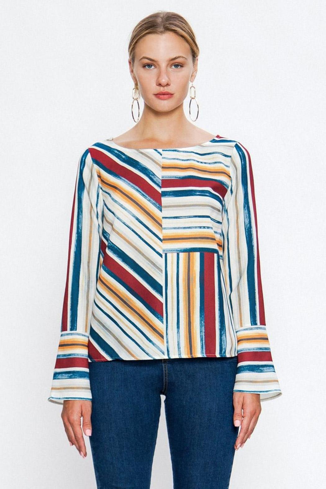Jealous Tomato Colorful Stripe Blouse - Front Full Image
