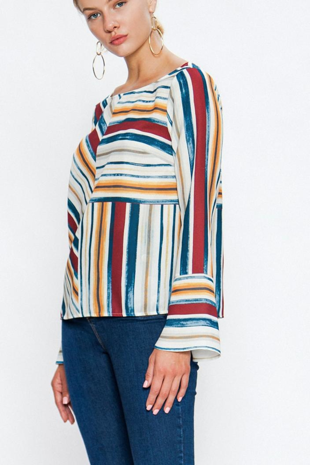 Jealous Tomato Colorful Stripe Blouse - Front Cropped Image
