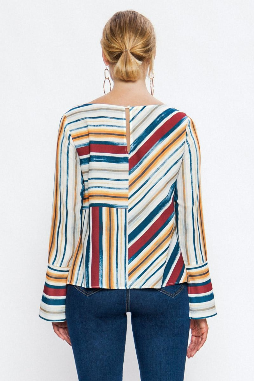 Jealous Tomato Colorful Stripe Blouse - Side Cropped Image