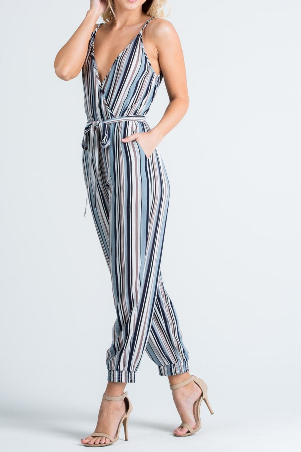 Cien Colorful Stripe Jumpsuit - Side Cropped Image