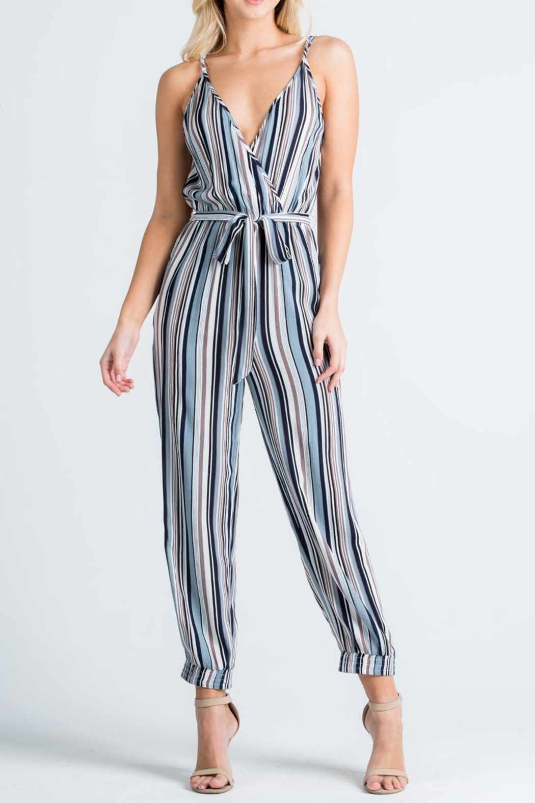 Cien Colorful Stripe Jumpsuit - Front Cropped Image