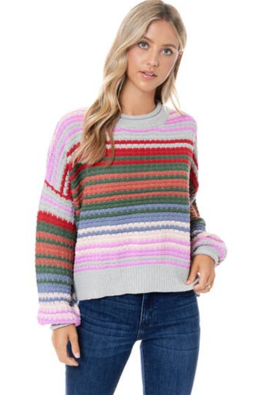 Maronie  Colorful Striped Sweater - Front Full Image