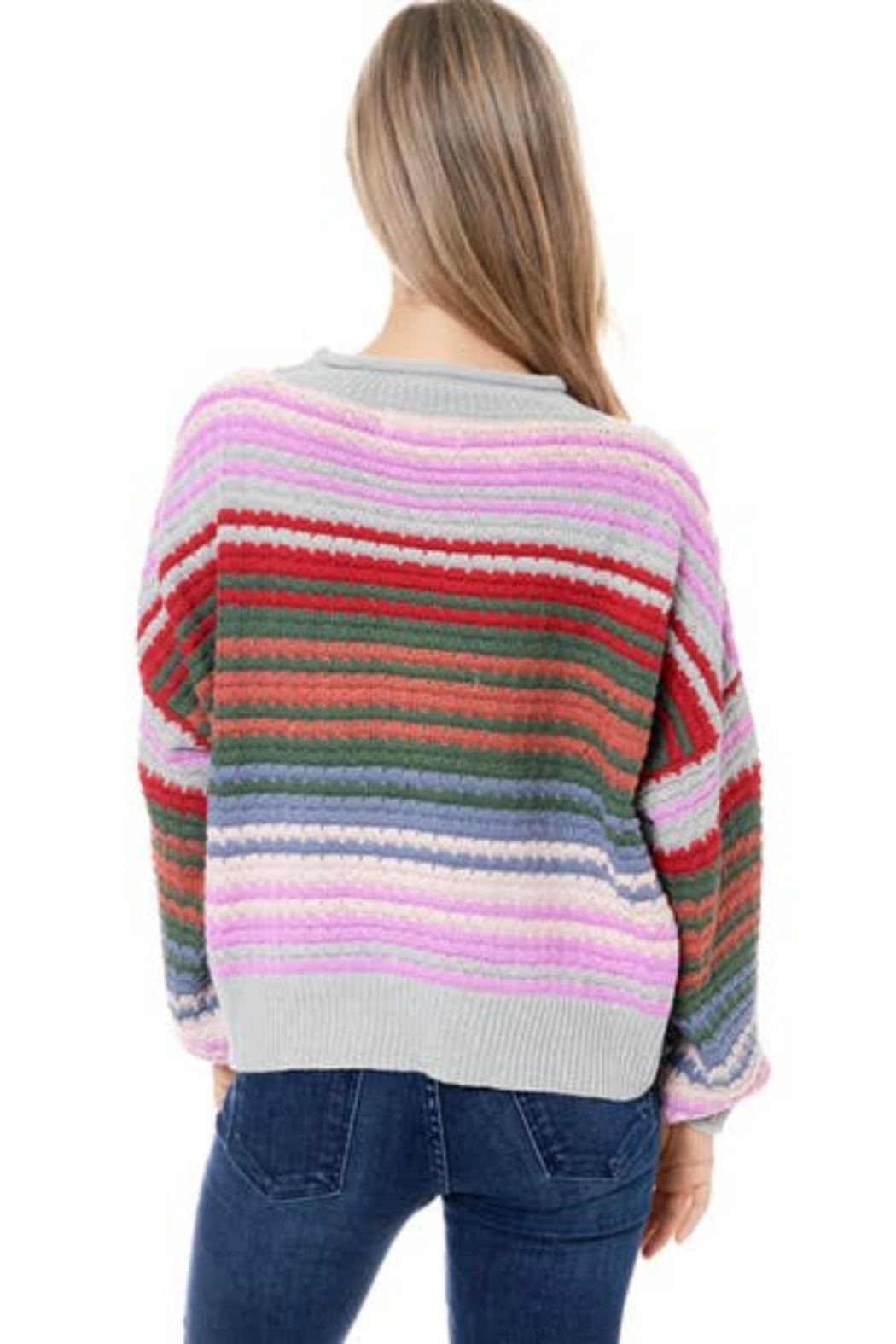 Maronie  Colorful Striped Sweater - Side Cropped Image