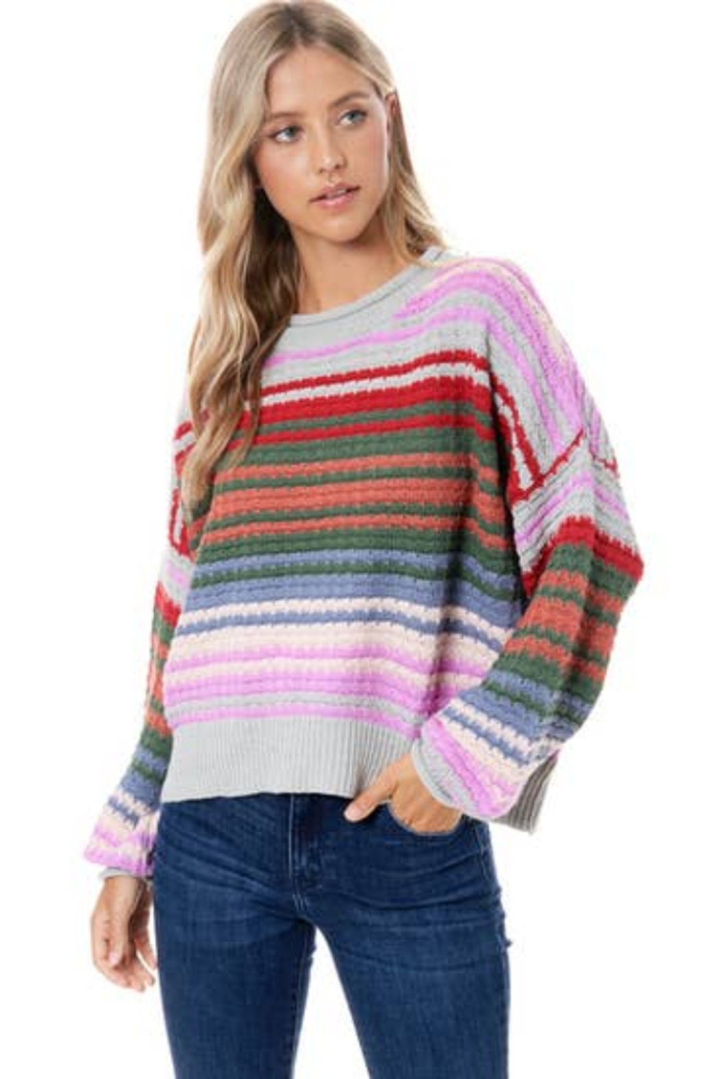 Maronie  Colorful Striped Sweater - Main Image