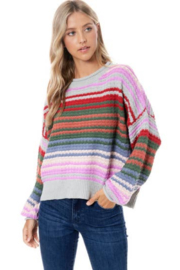 Maronie  Colorful Striped Sweater - Product Mini Image