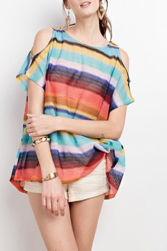 easel Colors-Striped Open-Shoulder Top - Product List Image