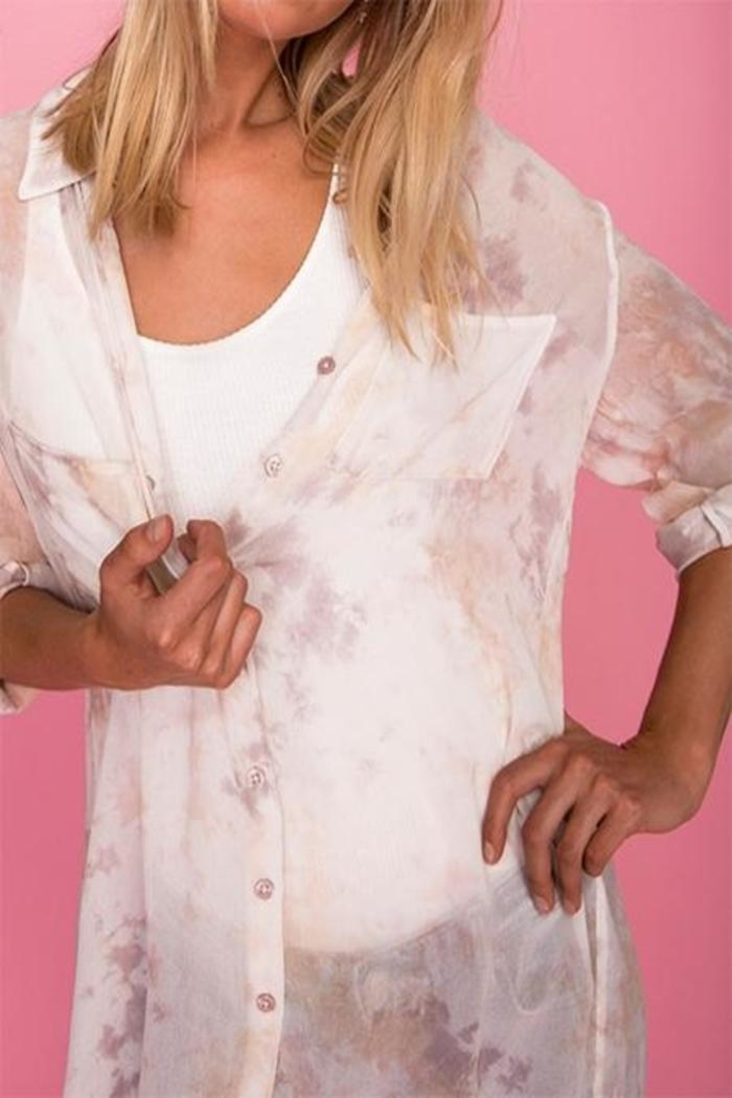AS by DF Colorwash Shirtdress - Side Cropped Image