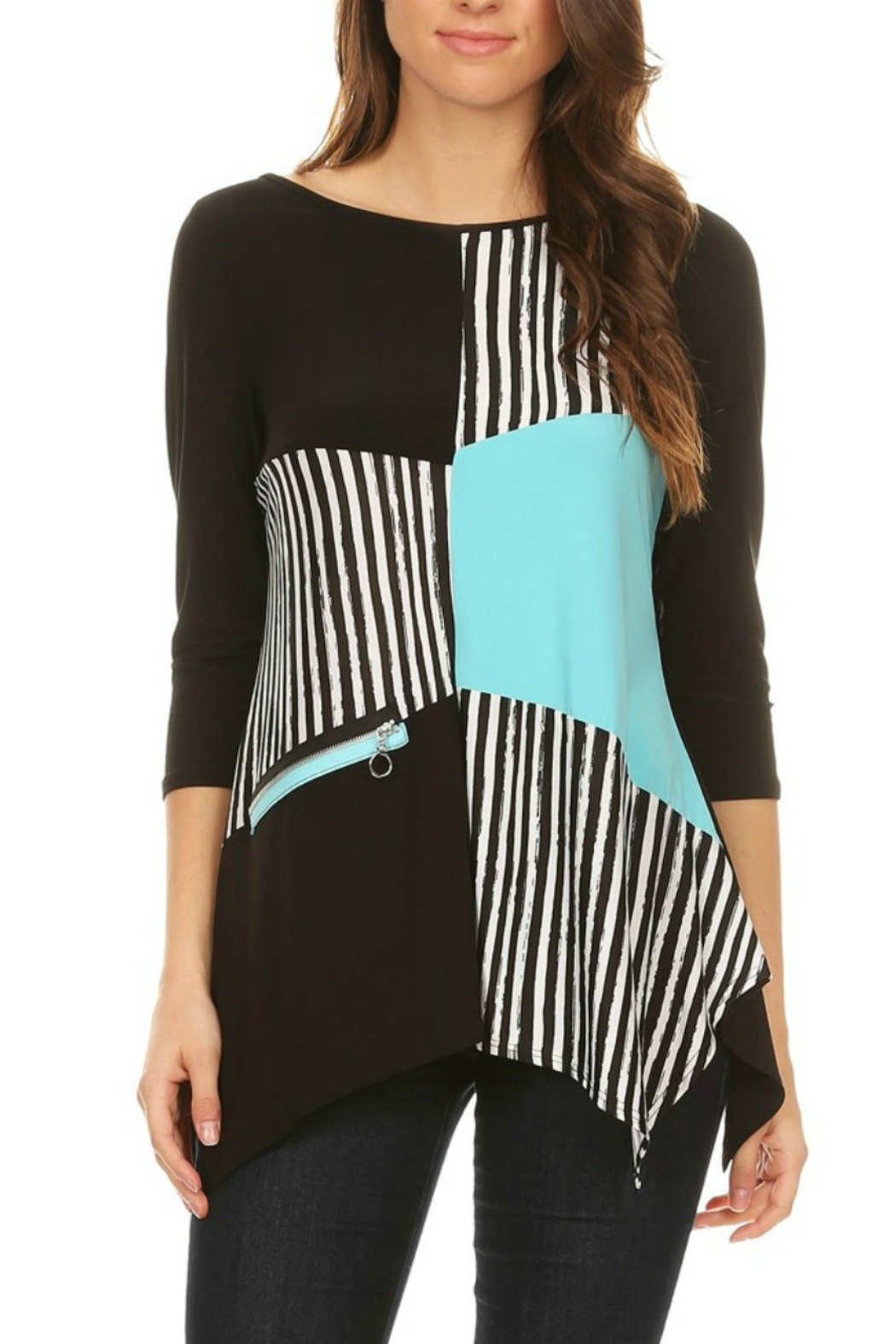 Come N See Asymmetric Stripy Blouse - Front Cropped Image