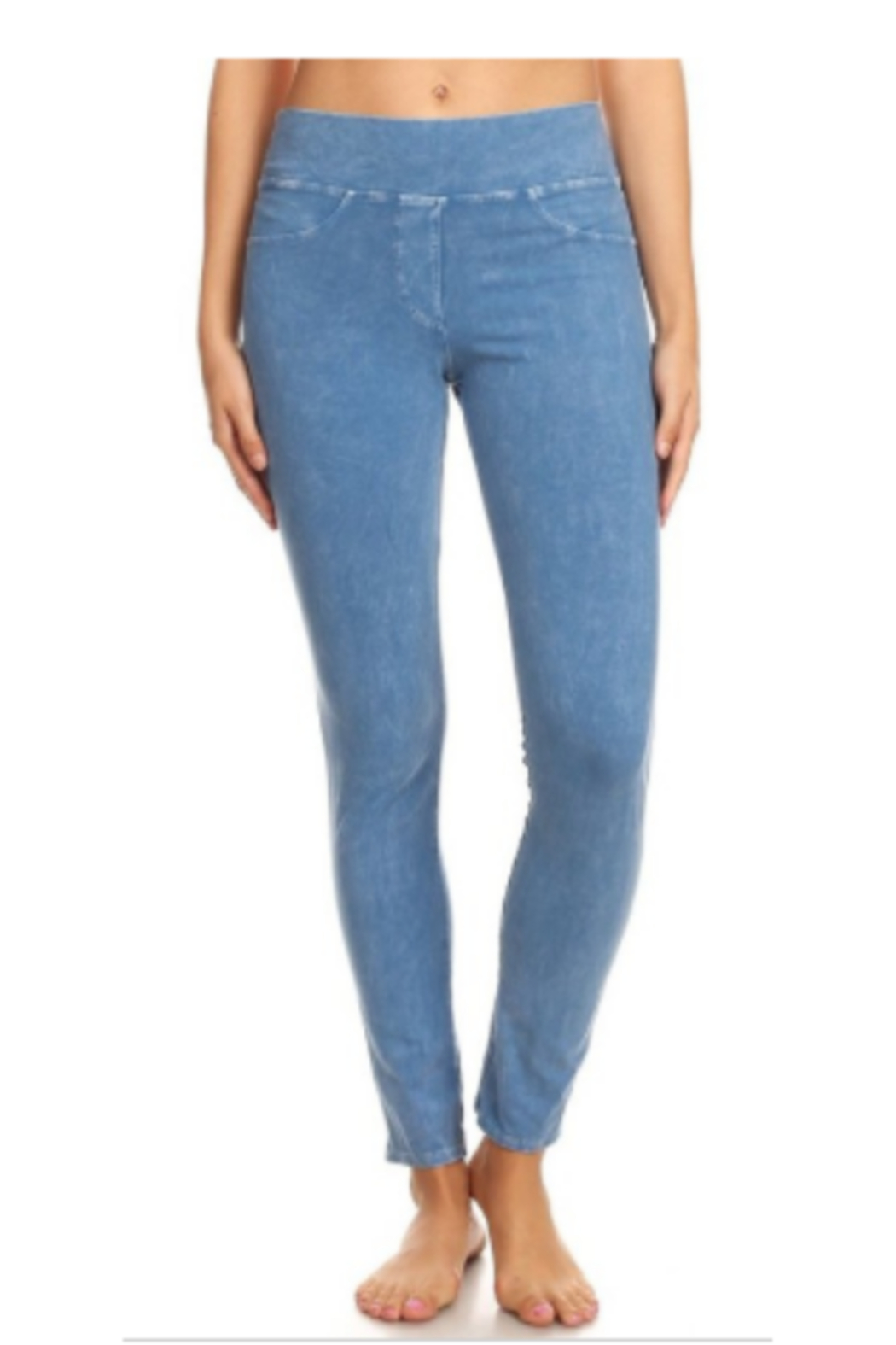 T Party Comfortable Wide Band Jeggings w/Back Pockets - Main Image