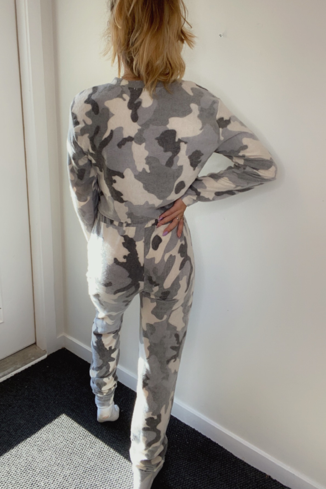 Black Bead Comfy Camo Bottoms - Front Full Image