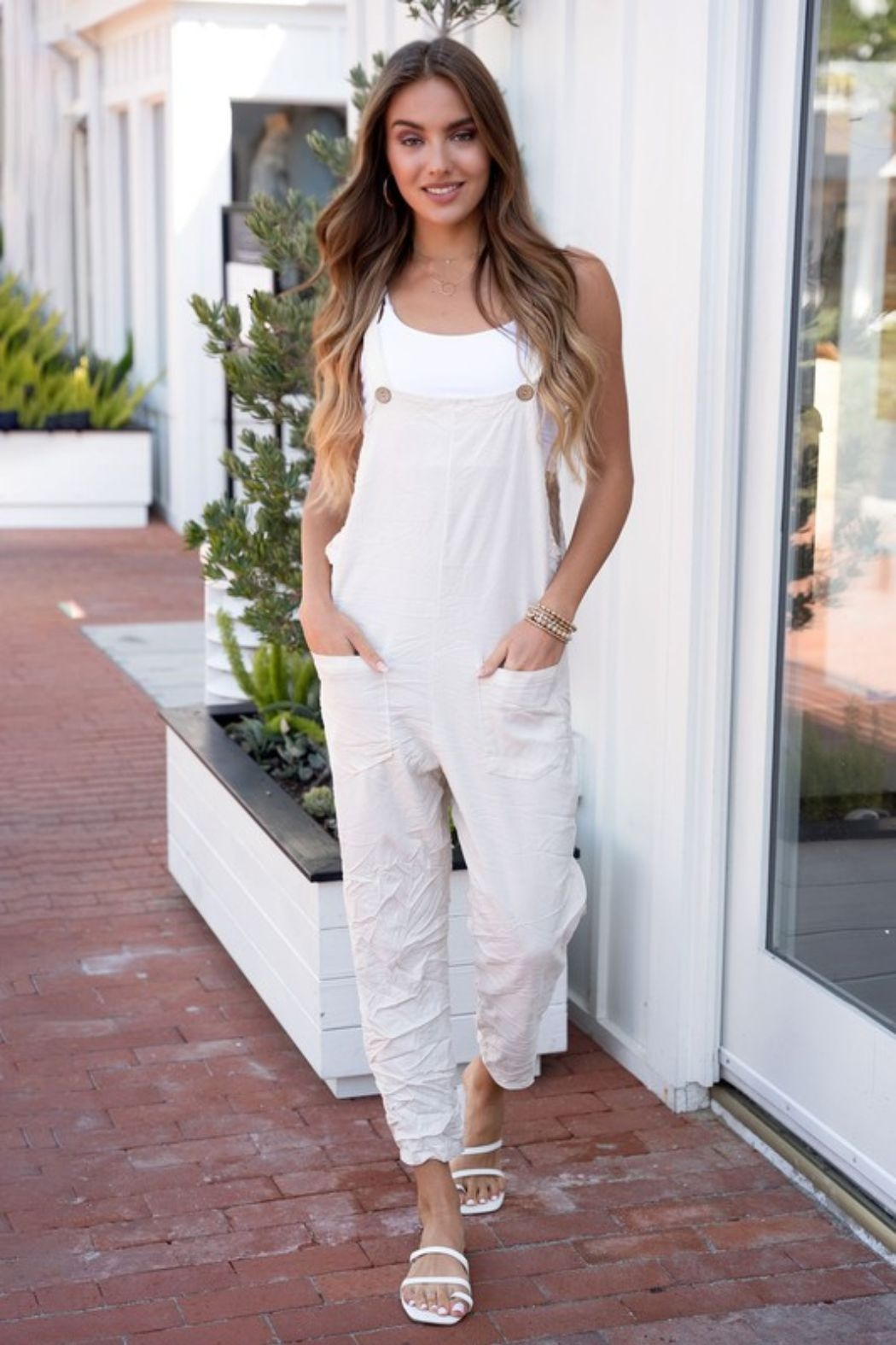 Venti6 Comfy Crinkle Overall - Front Full Image
