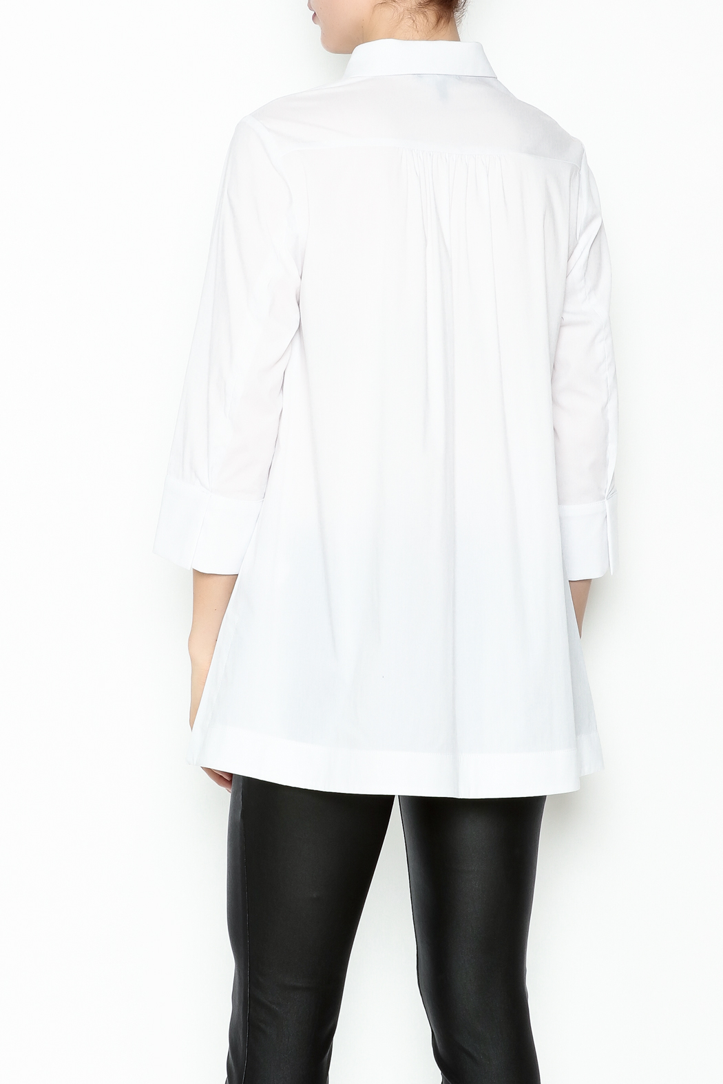 Comfy USA Collared Button Up Shirt - Back Cropped Image