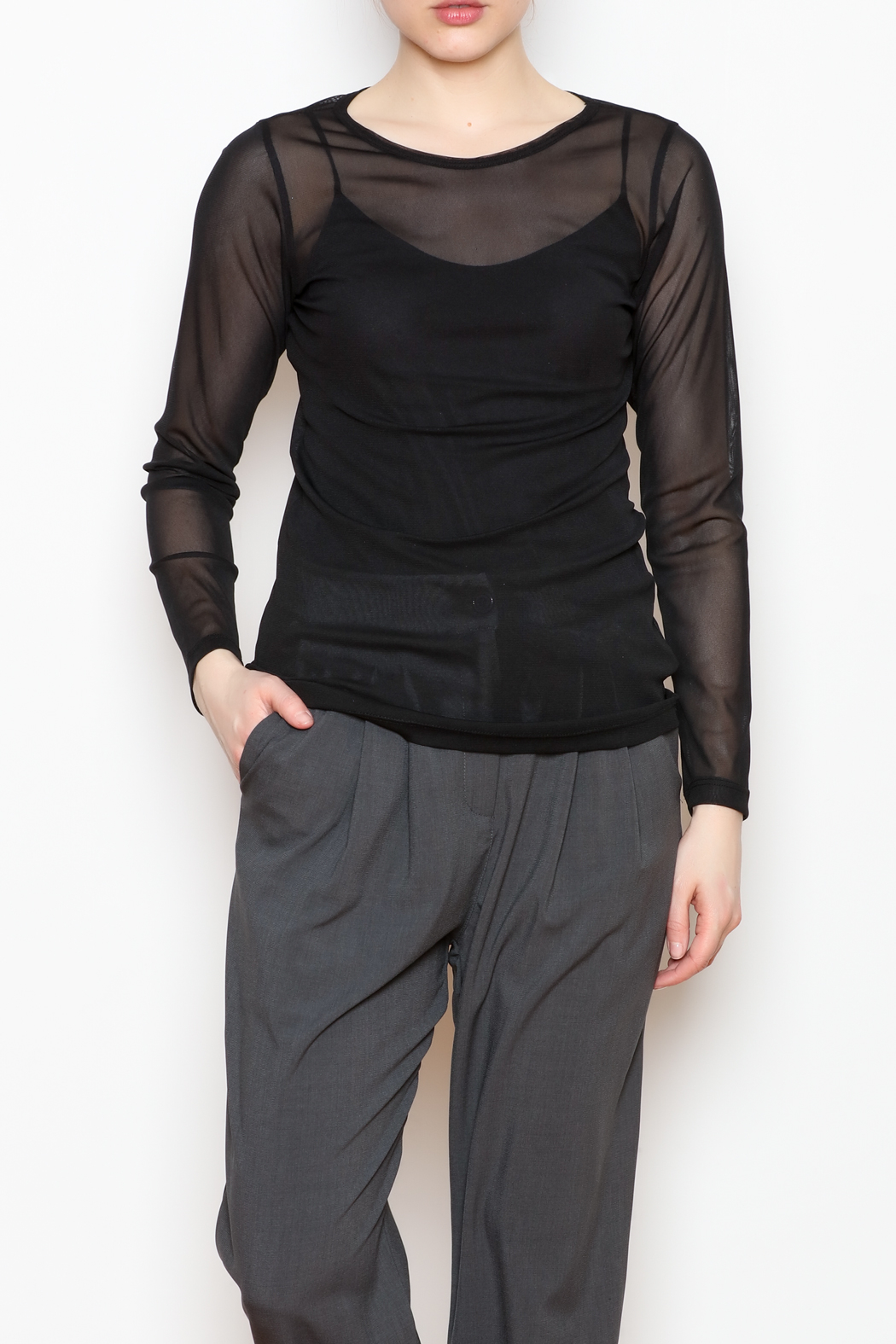 Comfy USA Sheer Mesh Top - Front Cropped Image