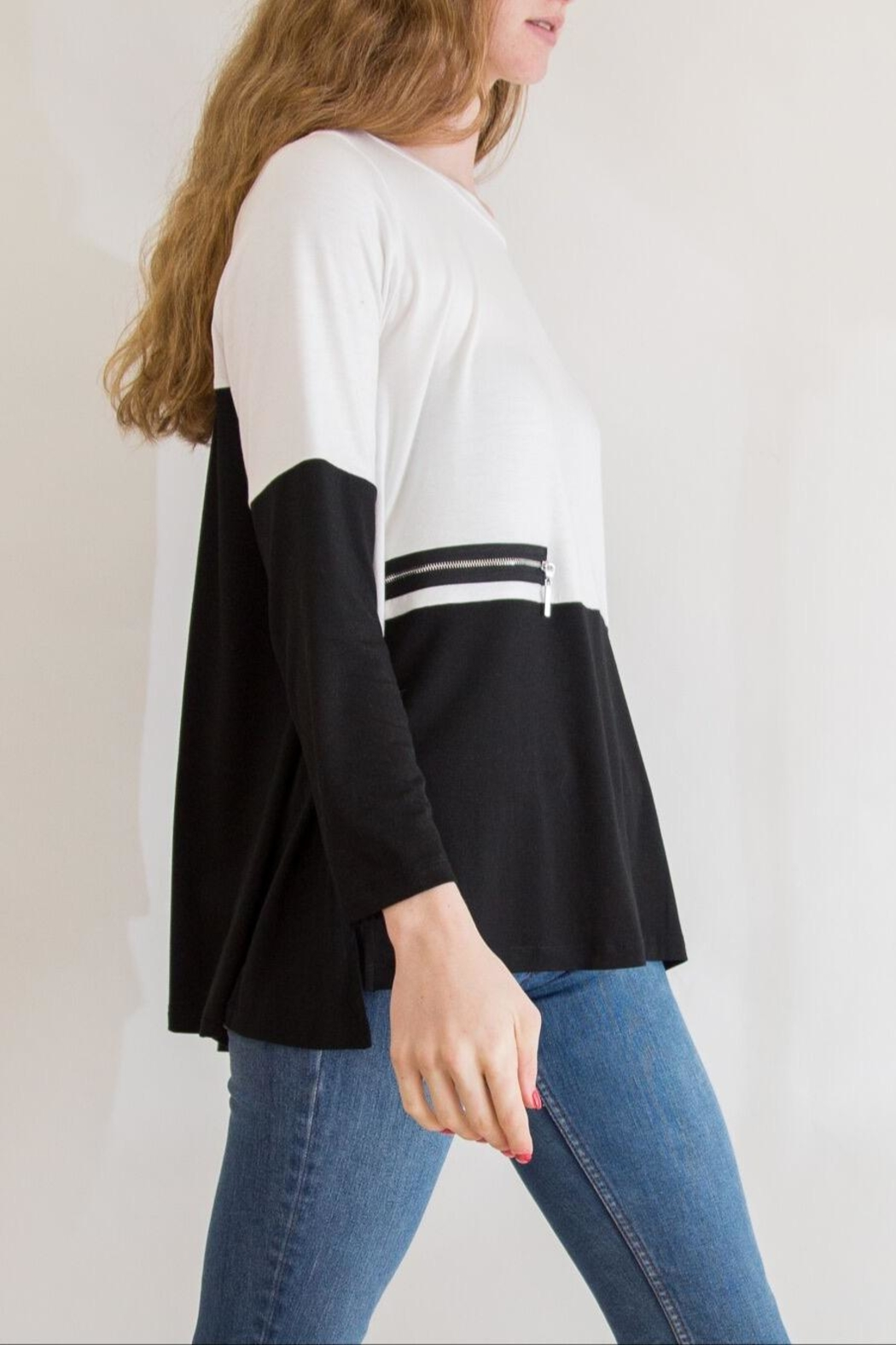 Comfy USA Black & White Tunic - Front Full Image