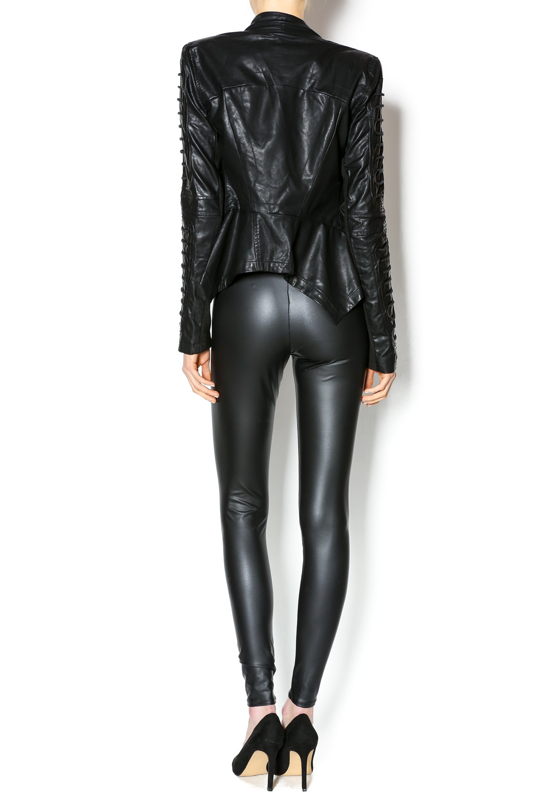Comme Leatherette Rider Jacket - Side Cropped Image