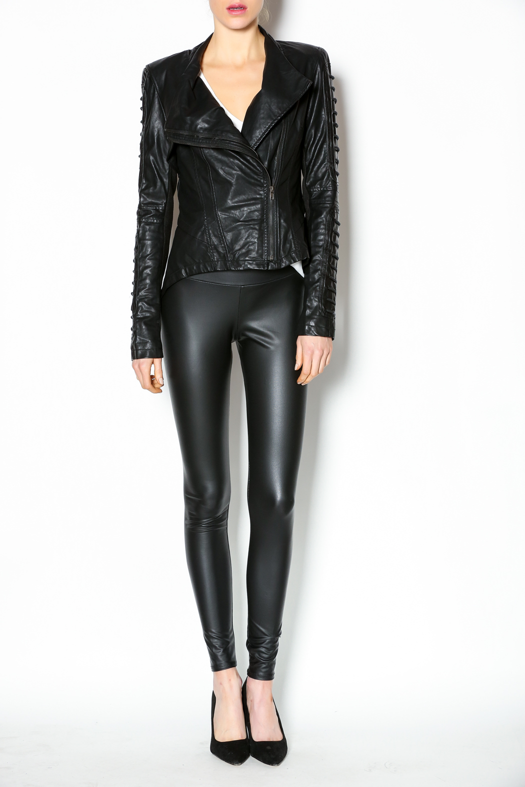 Comme Leatherette Rider Jacket - Front Full Image