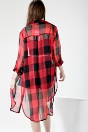 Comme Sheer Plaid Tunic - Back cropped
