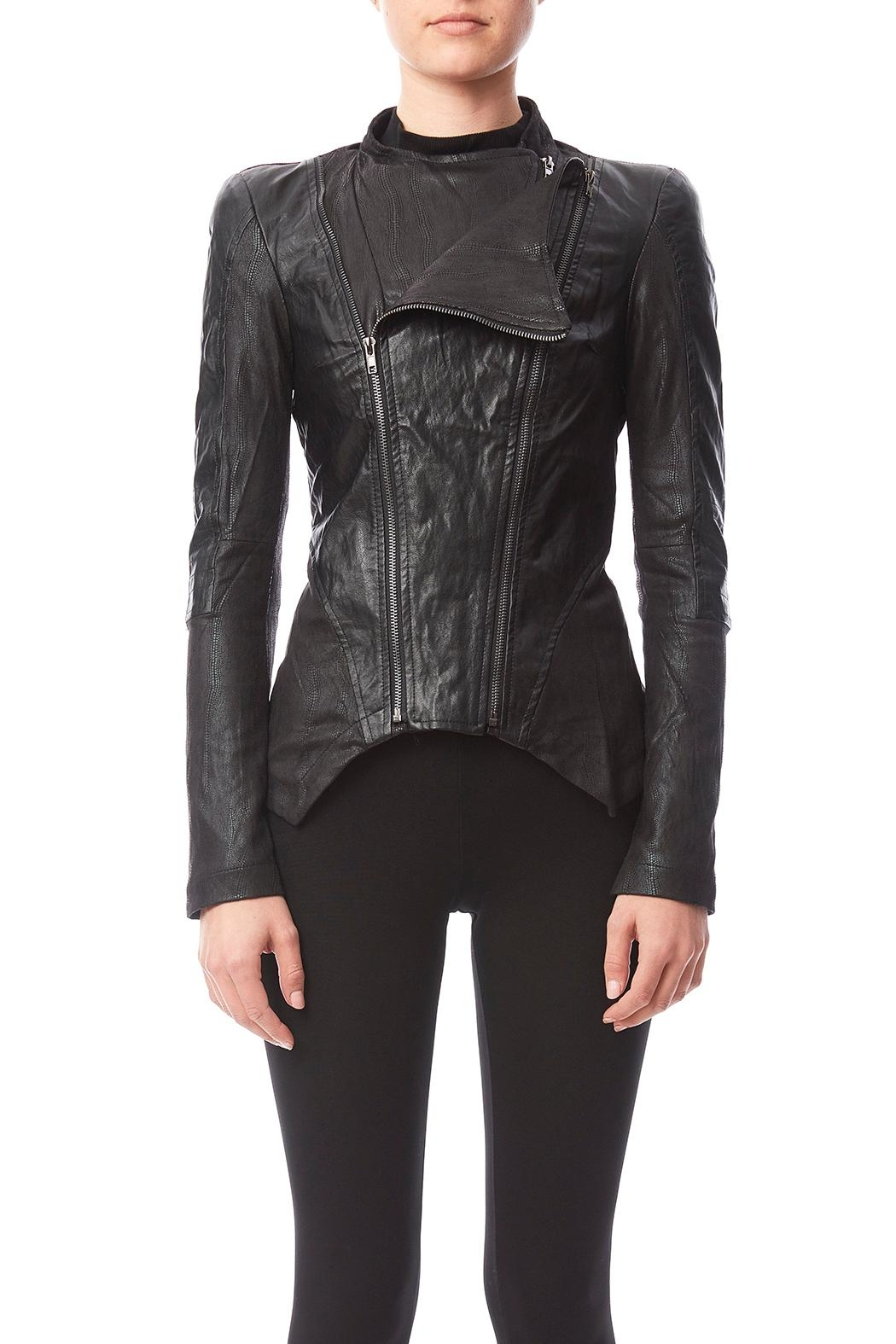 Comme Suede Closure Jacket - Back Cropped Image