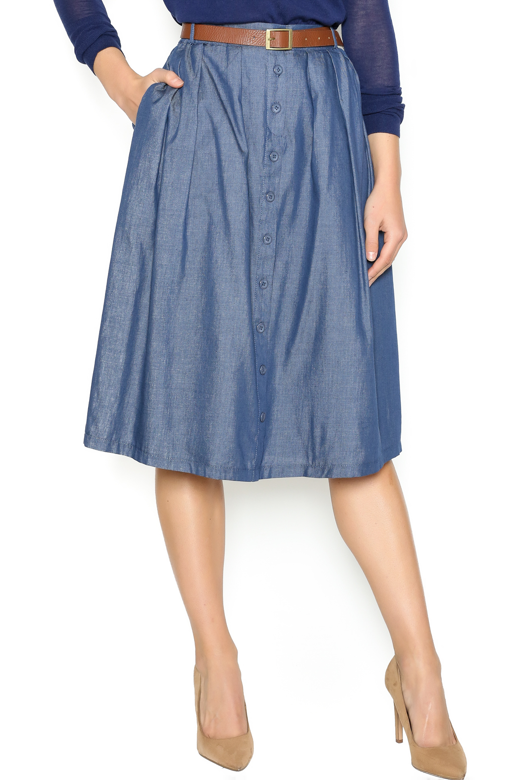 77b2ffc30771 Comme Toi Chambray Midi Skirt from Utah by Jolley's Gifts and ...