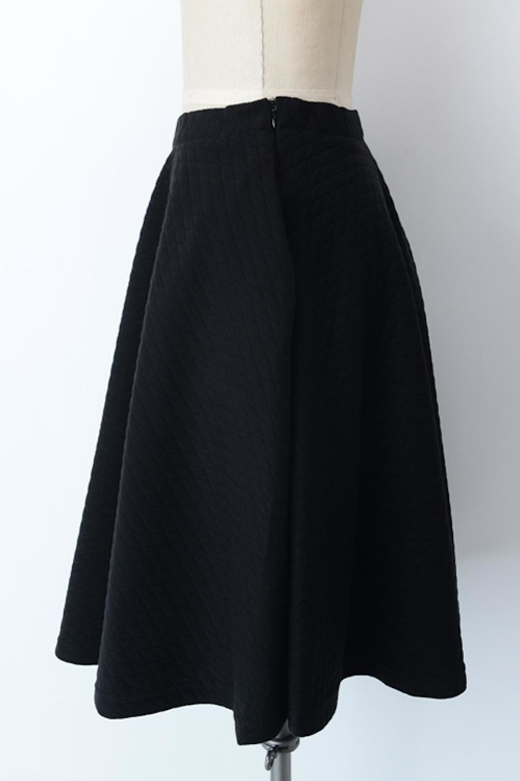 Comme Toi Black Textured Skirt - Back Cropped Image