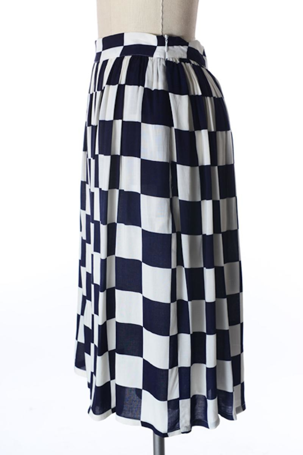 Comme Toi Navy Checkered Skirt - Front Full Image