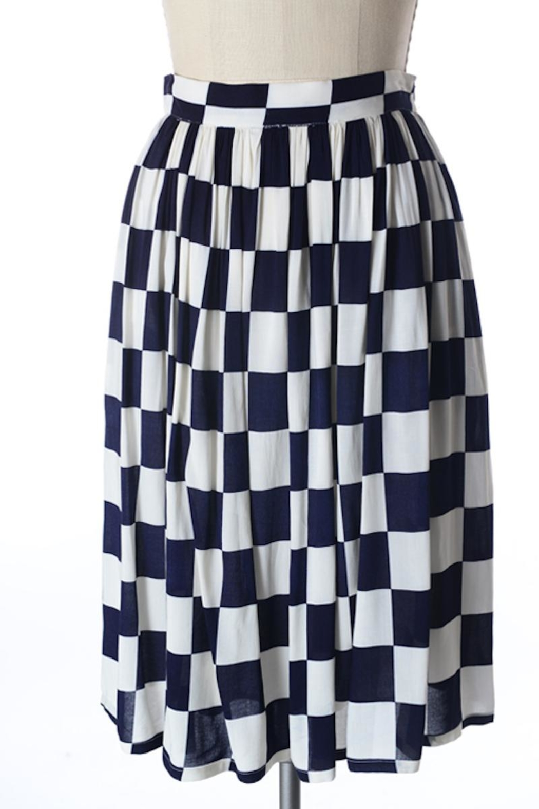 Comme Toi Navy Checkered Skirt - Main Image