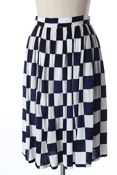 Shoptiques Product: Navy Checkered Skirt