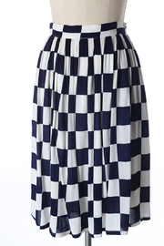 Comme Toi Navy Checkered Skirt - Front cropped