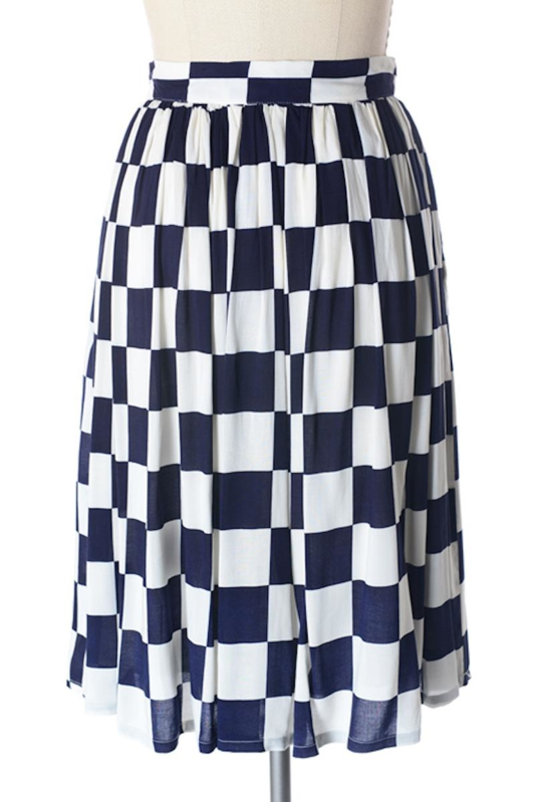 Comme Toi Navy Checkered Skirt - Back Cropped Image