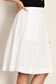 Comme Toi White Eyelet Skirt - Front full body