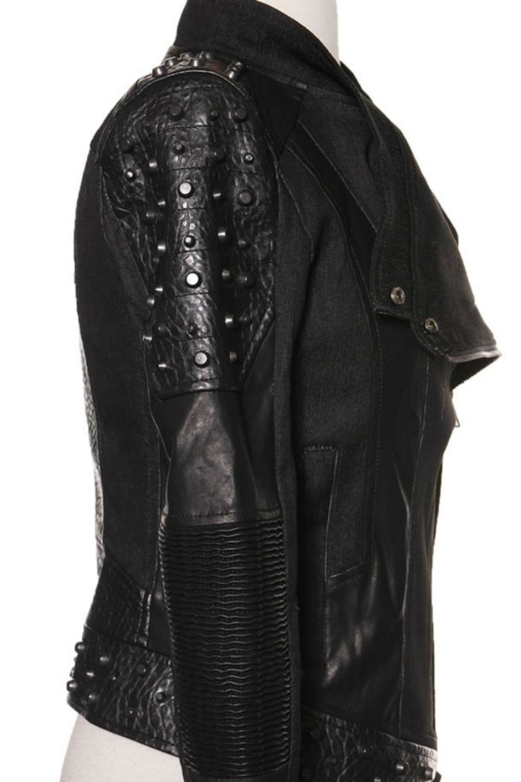 Comme USA Badass Studded-Moto Jacket - Side Cropped Image