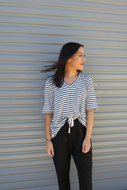 Commoners Luxe Linen Deep V Striped Tee - Front cropped