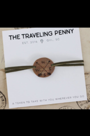 The Traveling Penny COMPASS SUEDE STACKING BRACELET - Front cropped