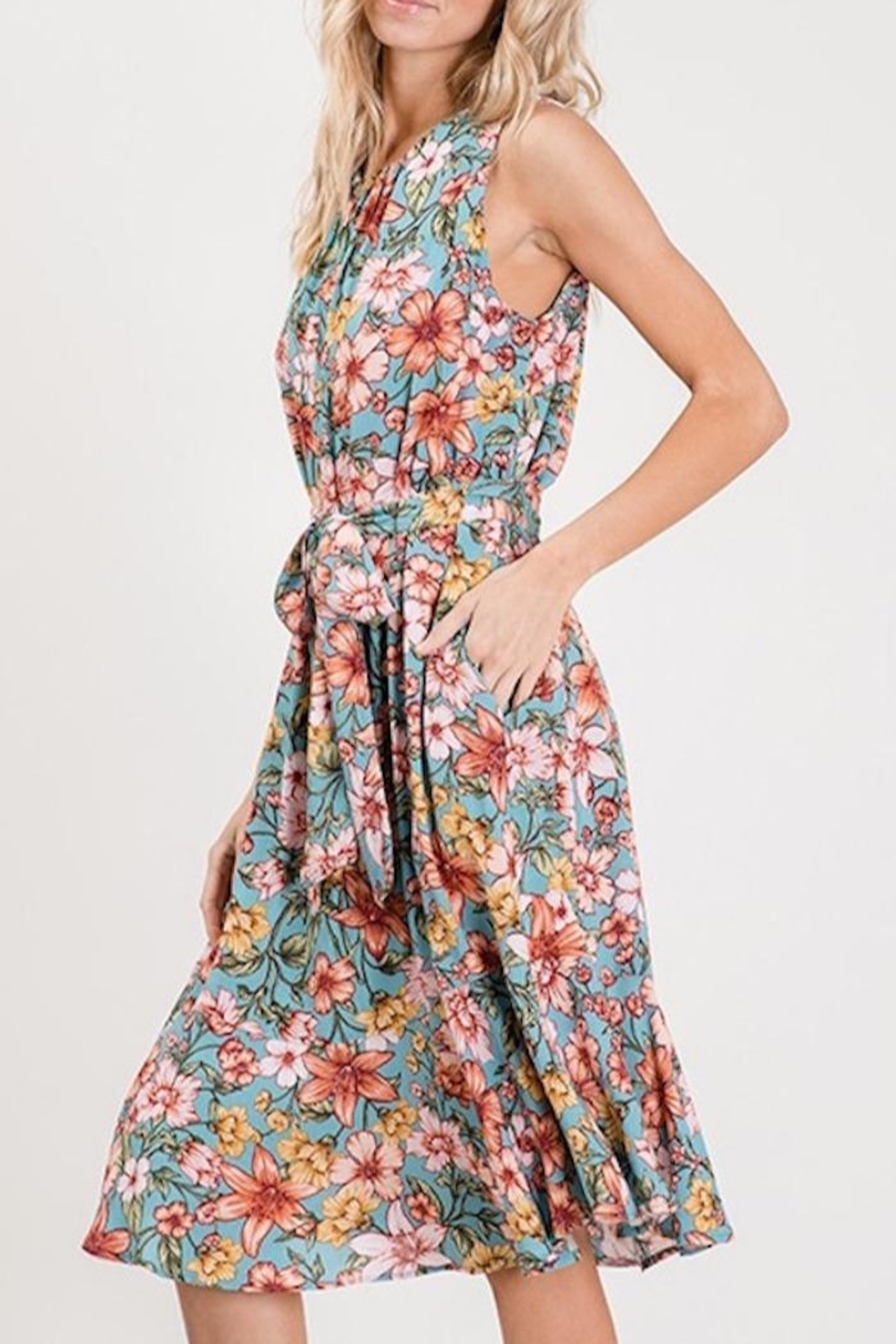 Compendium Floral Sundress W/ Pockets - Front Full Image