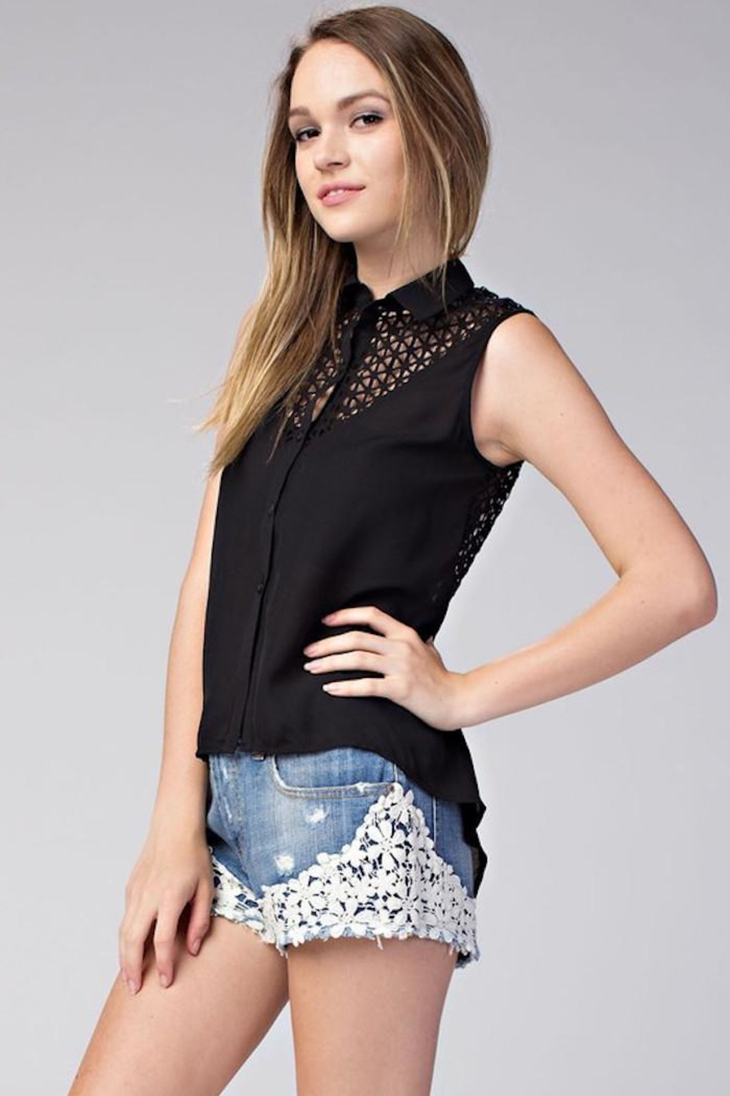 Compendium High-Low Black Chiffon Blouse - Front Full Image