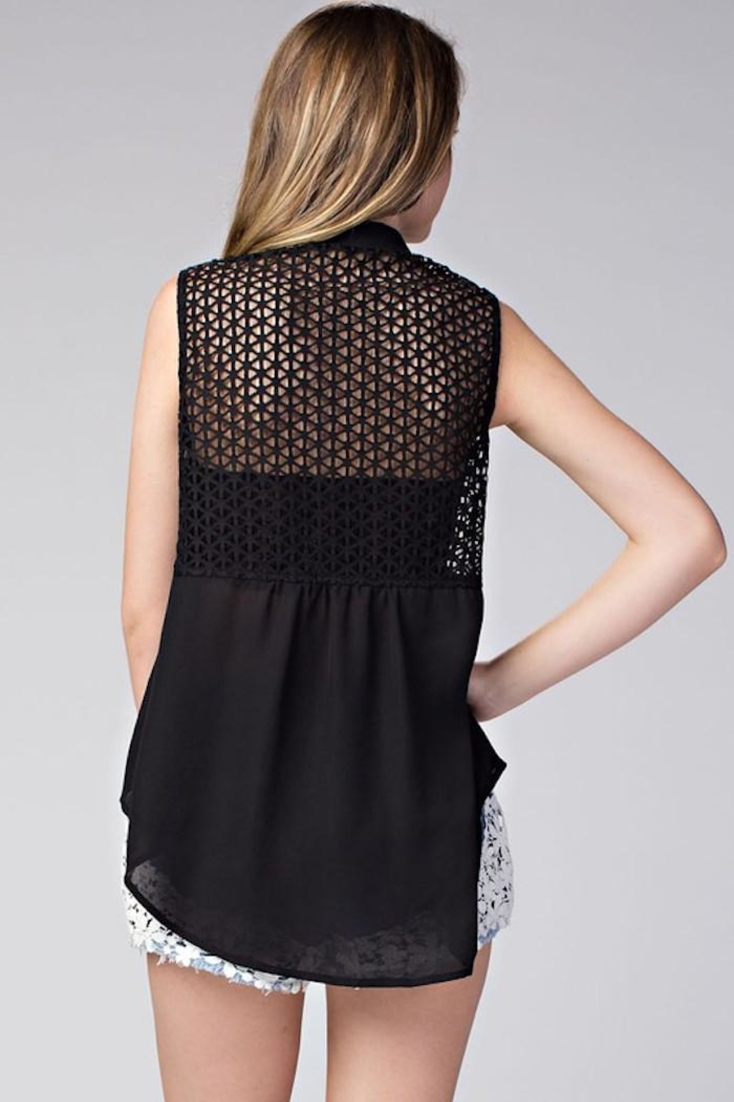 Compendium High-Low Black Chiffon Blouse - Side Cropped Image