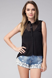 Compendium High-Low Black Chiffon Blouse - Front cropped