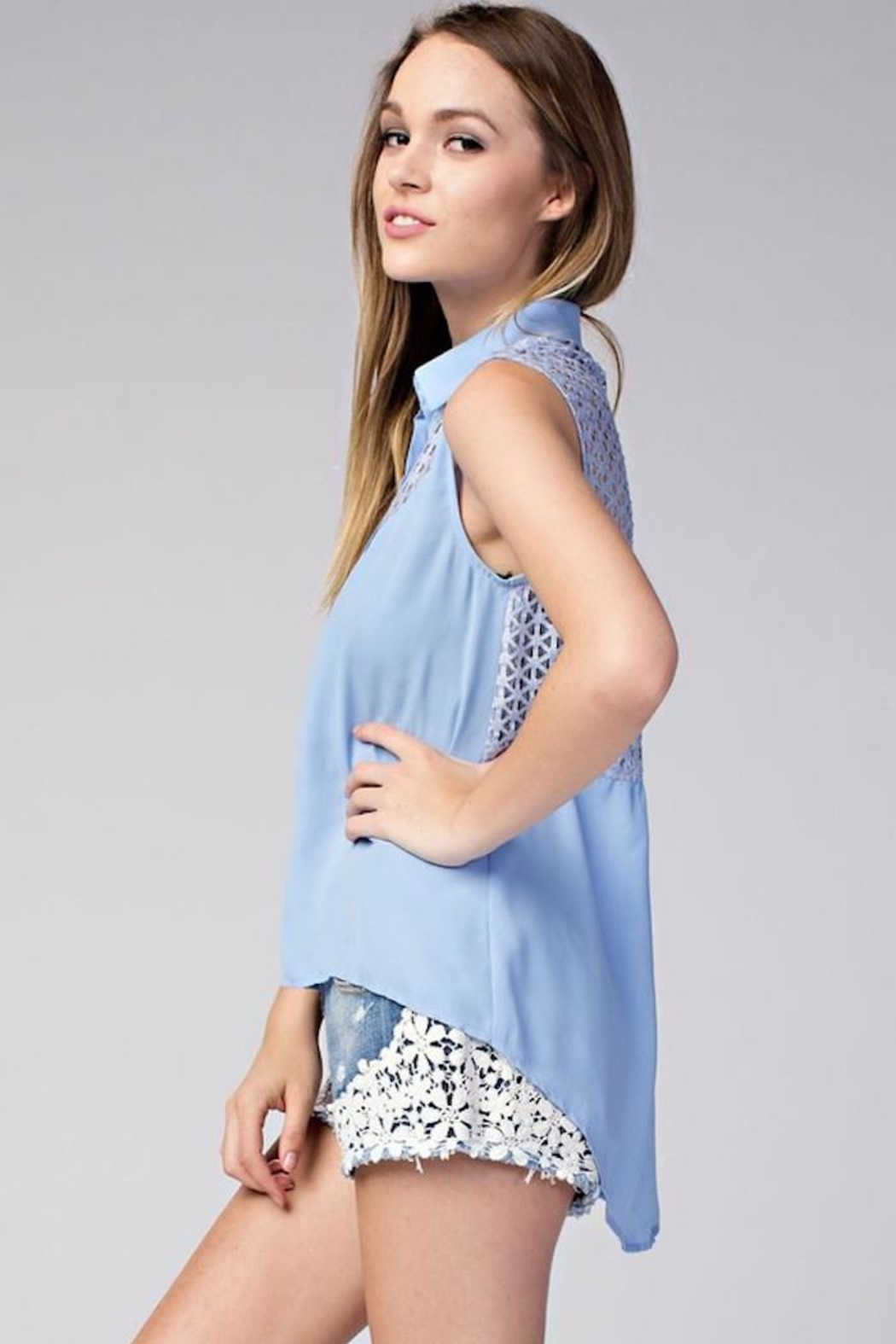 Compendium High-Low Blue Chiffon Blouse - Front Full Image