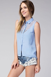Compendium High-Low Blue Chiffon Blouse - Front cropped