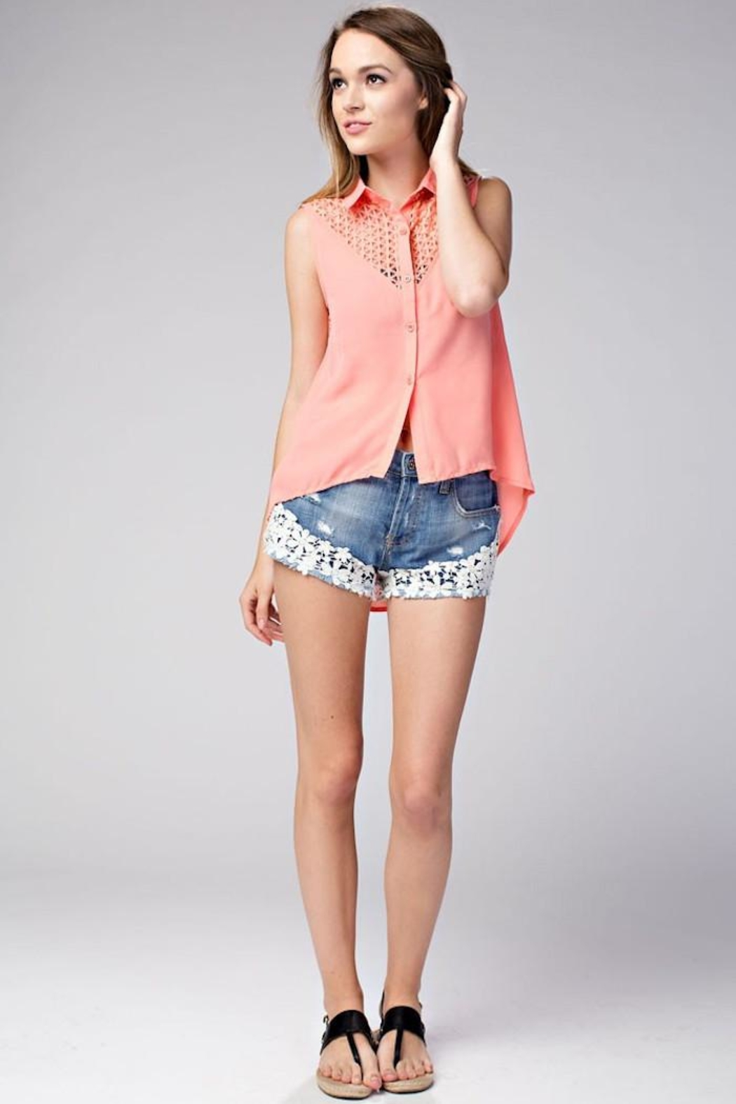 Compendium High-Low Coral Chiffon Blouse - Back Cropped Image
