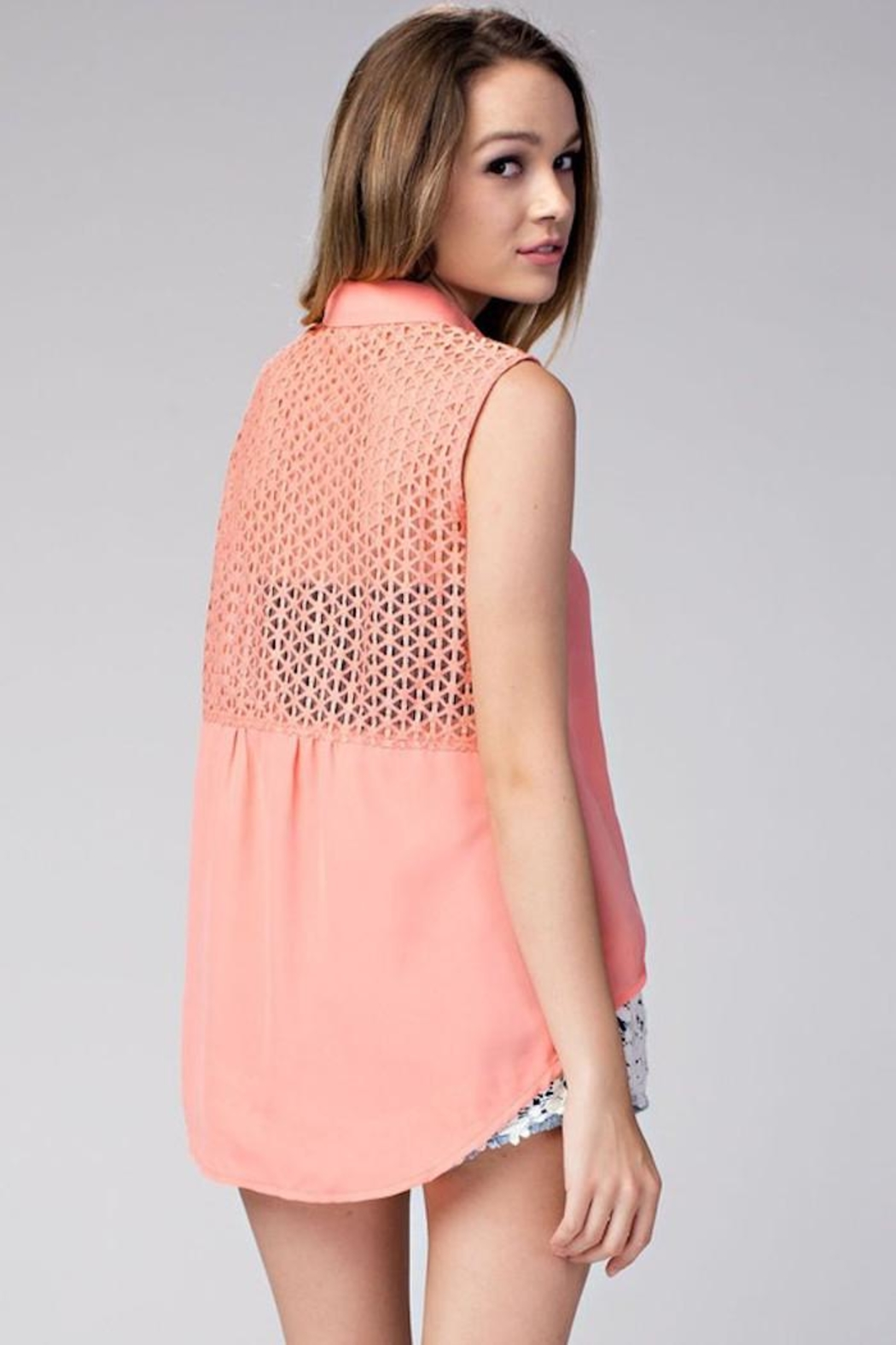 Compendium High-Low Coral Chiffon Blouse - Side Cropped Image
