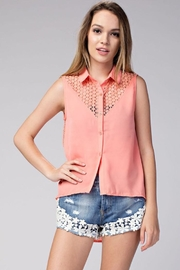 Compendium High-Low Coral Chiffon Blouse - Product Mini Image