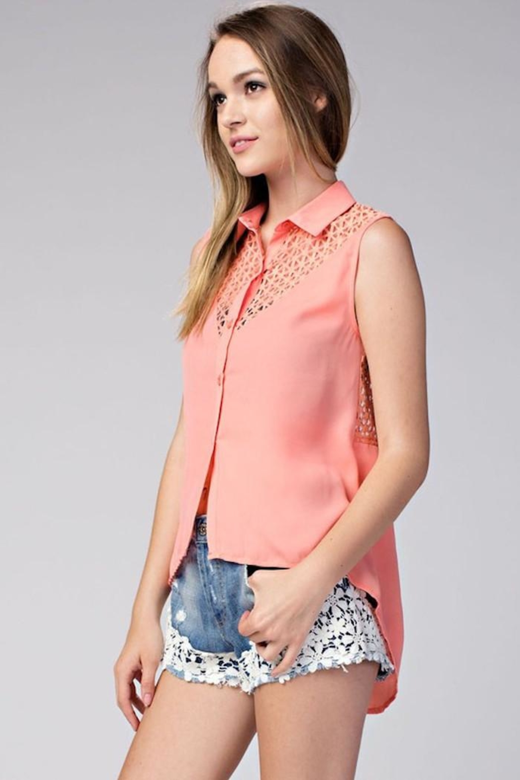Compendium High-Low Coral Chiffon Blouse - Front Full Image