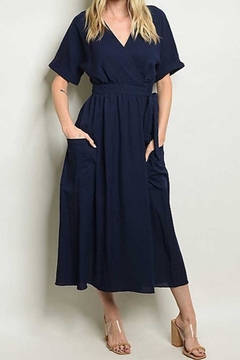 Shoptiques Product: Navy Wrap Dress W/ Pockets