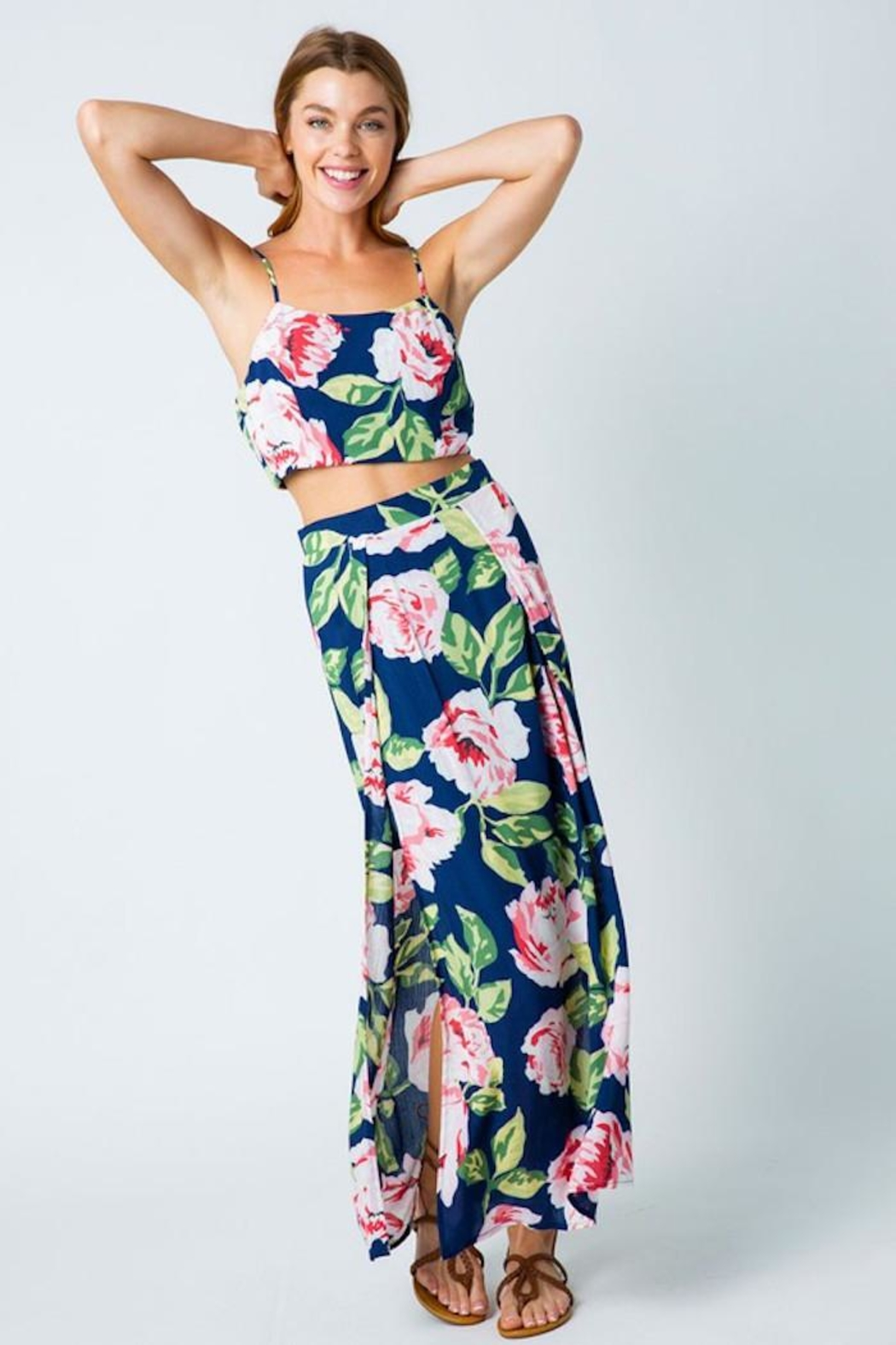 Compendium Rose Double Side Slit Maxi Skirt In Navy - Front Full Image