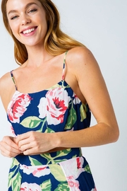 Compendium Rose Tie-Back Crop Top In Navy - Front cropped