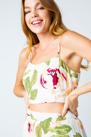Compendium Rose Tie-Back Crop Top In White - Product Mini Image