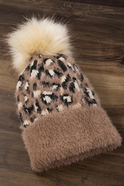 Compendium boutique Brown Leopard Beanie - Front cropped